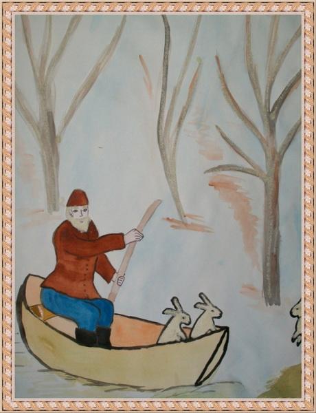 как живописать деда мазая на лодке  со зайцами поэтапно
