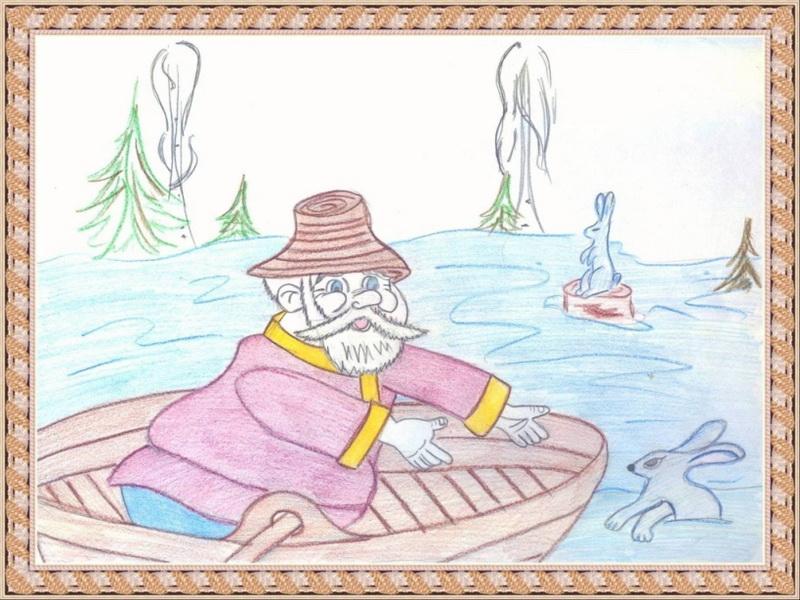 как зафиксировать  деда мазая на лодке из зайцами поэтапно
